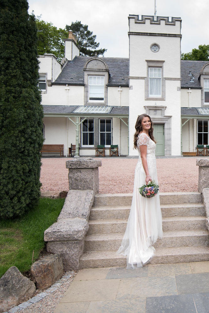 Bride Outside Douneside House